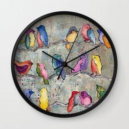 Colorful Birds Banter Wall Clock