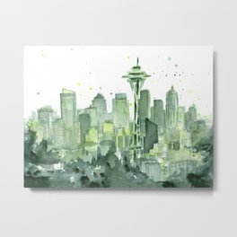 Seattle Watercolor Painting Metal Print
