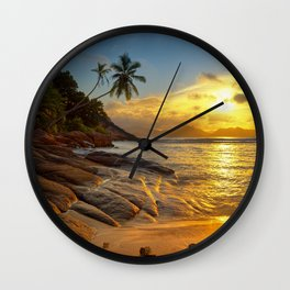 rocks and palms Wall Clock