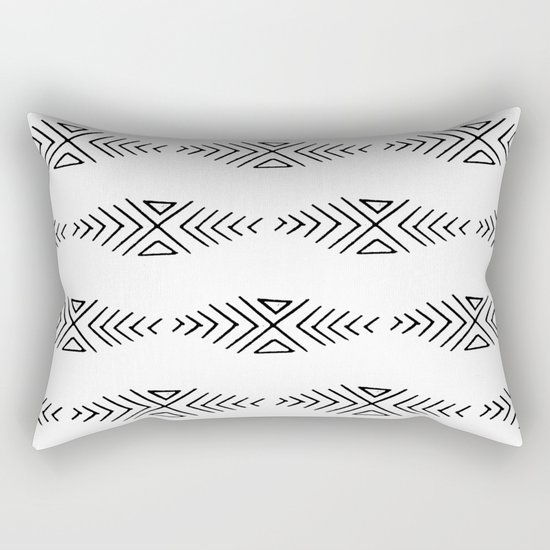 mudcloth 11 minimal textured black and white pattern home decor minimalist beach Rectangular Pillow