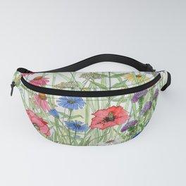Watercolor of Garden Flower Medley Fanny Pack