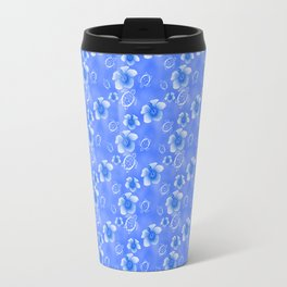 Blue Honu And Hibiscus Hawaiian Pattern Travel Mug