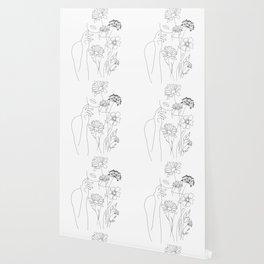 Minimal Line Art Woman with Flowers III Wallpaper