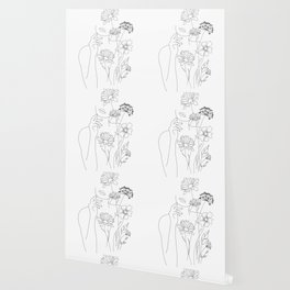 Minimal Line Art Woman with Flowers III Wallpaper