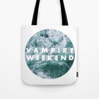 vampire weekend Tote Bags featuring Vampire Weekend by Elianne