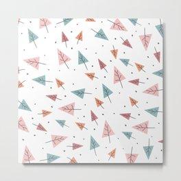 Modern Christmas trees hand drawn pastel pink turquoise orange pattern Metal Print