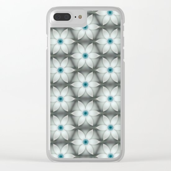 White Aqua Daisies Clear iPhone Case