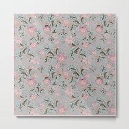 Retro . Pink flowers on grey background . Metal Print