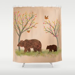 Walk In The Woods With Mama Bear Shower Curtain