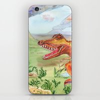t rex iPhone & iPod Skins featuring T-Rex by Catherine Holcombe