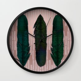 Powder pink and green feathers Wall Clock