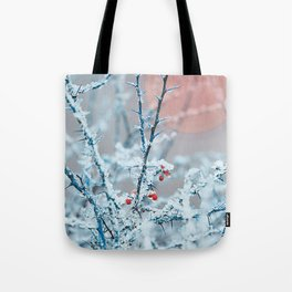 Snowy twigs and berries Tote Bag