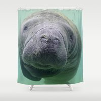 manatee Shower Curtains featuring Manatee by Heidi Ingram