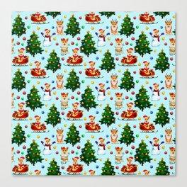 Blue Christmas - From Corgis, Santa And Christmas Trees Canvas Print