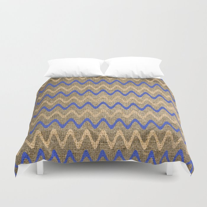 Blue and Tan Zigzag Stripes on Grungy Brown Burlap Graphic Design Duvet Cover