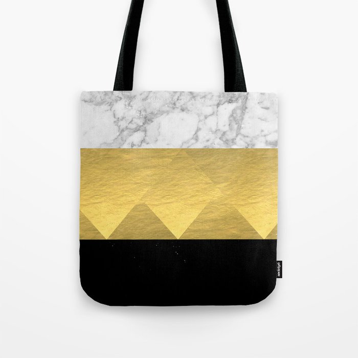Stacked - gold foil black and marble cell phone case golden urban minimal retro modern city hipster  Tote Bag