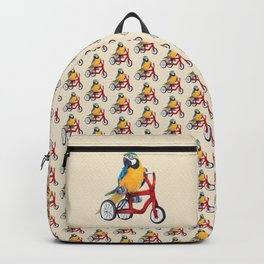 Parrot macaw on red bike Backpack