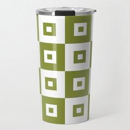 Retro Mid Century Modern Square Pattern Olive Green Travel Mug