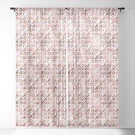 XOXO Kiss Me Rose Gold Pattern 2 Sheer Curtain