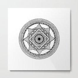 Abstract Mandala black Metal Print