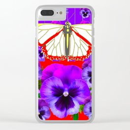 RED-WHITE BUTTERFLY PURPLE PANSIES MODERN ART Clear iPhone Case