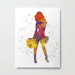 young woman Cheerleader Art Girl Poms Dance in watercolor 07 Metal Print
