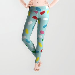 Sweet glazed, with colorful sprinkles on blue melting icing Leggings