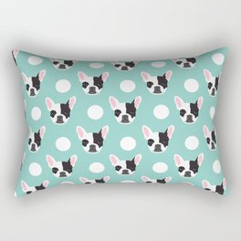 French Bulldog pattern polka dogs dog head funny dog meme cute gift for a dog lover frenchie owner Rectangular Pillow