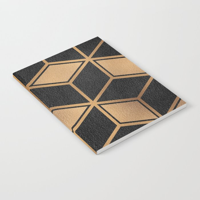 Charcoal and Gold - Geometric Textured Cube Design II Notebook