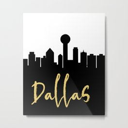 DALLAS TEXAS DESIGNER SILHOUETTE SKYLINE ART Metal Print