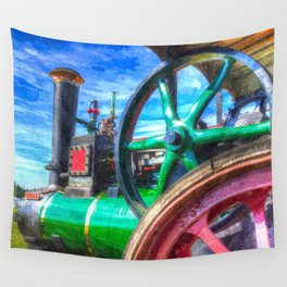 Clayton and Shuttleworth Traction Engine Art Wall Tapestry