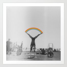 Straddle Rainbow Handstand Art Print