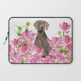Weimaraner Lotos Flowers Laptop Sleeve