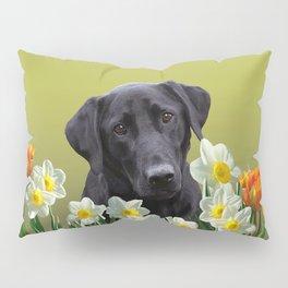 White daffodils with Labrador retriever Pillow Sham
