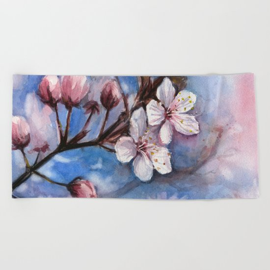 Cherry Blossoms Watercolor Spring Flowers Beach Towel