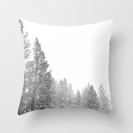 Winterland // Snowy Landscape Photography White Out Winter Pine Tree Artwork Throw Pillow