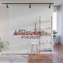 París City Skyline HQ Watercolor Wall Mural