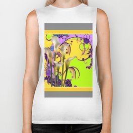 White Calla Lilies Lime-Purple Fantasy Garden Flowers Biker Tank