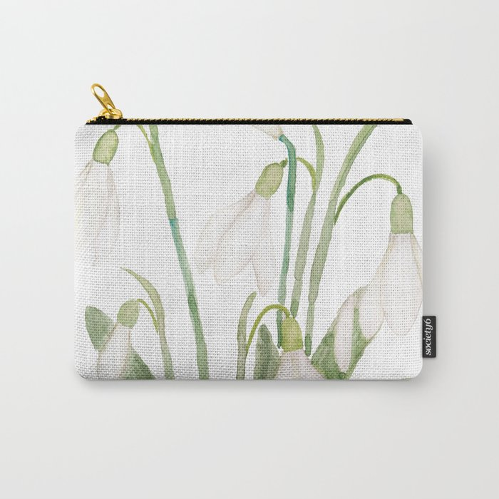 white snowdrop flower watercolor Carry-All Pouch