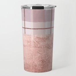 Country blush coral ivory rose gold watercolor plaid Travel Mug