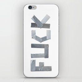 FUCK written with duct tape white background iPhone Skin