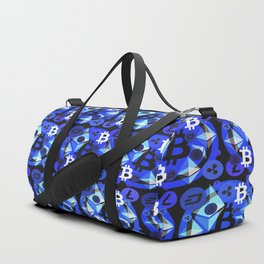 Crypto currency blue pattern Duffle Bag