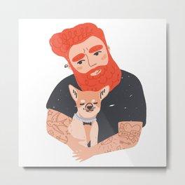 Tattooed Man Hugging Dog Metal Print