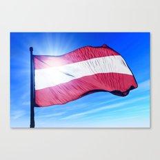 Austria flag waving on the wind Canvas Print