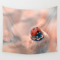 ladybug Wall Tapestries featuring Ladybug. by Mary Berg