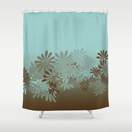Teal and Tan Azalea pattern Shower Curtain