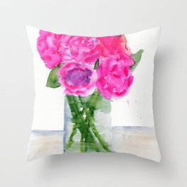 Peonies in a Vase Throw Pillow