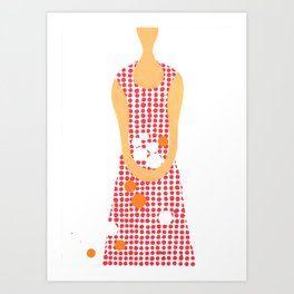 Girl with oranges Art Print