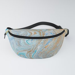 Marble turquoise gold silver Fanny Pack