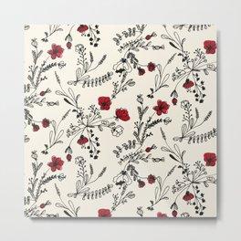 Red Flower Pattern Metal Print